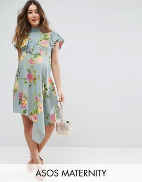 photo Asymmetric Tea Dress in Floral Print by ASOS Maternity, color Blue Base Floral - Image 1
