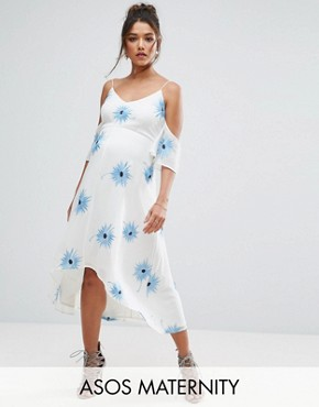 photo Cold Shoulder Embroidered Midi Dress with Dip Back Hem by ASOS Maternity, color White - Image 1