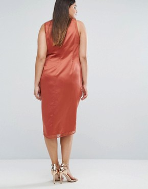 photo Lace Insert Wrap Satin Dress by ASOS CURVE, color Rose - Image 2