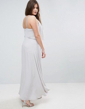 photo Embellished Strap Back Crop Top Maxi Dress by ASOS CURVE, color Silver Grey - Image 2