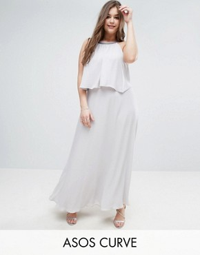 photo Embellished Strap Back Crop Top Maxi Dress by ASOS CURVE, color Silver Grey - Image 1