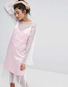 photo Dream On Satin Cami Dress by Lazy Oaf, color Pink - Image 1
