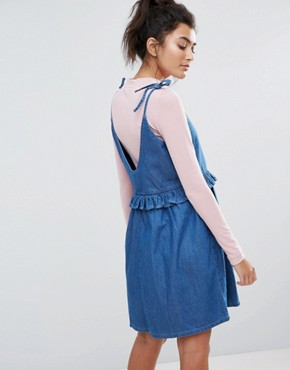 photo Bad Babydoll Denim Dress by Lazy Oaf, color Blue - Image 2