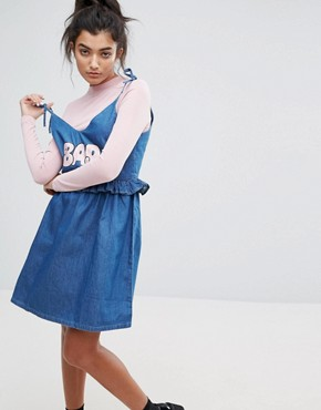 photo Bad Babydoll Denim Dress by Lazy Oaf, color Blue - Image 1