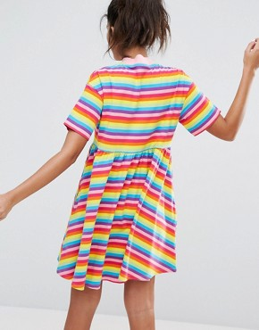photo Rainbow Sally T-shirt Dress by Lazy Oaf, color Multi - Image 2