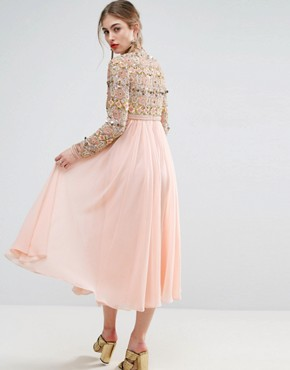 photo High Neck Embellished Midi Skater Dress with Long Sleeves by ASOS SALON, color Baby Pink - Image 2