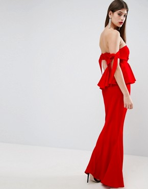 photo Havana Tie Bow Front Maxi Dress by ASOS, color Bright Red - Image 2