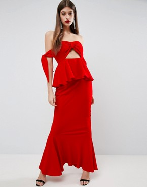 photo Havana Tie Bow Front Maxi Dress by ASOS, color Bright Red - Image 1