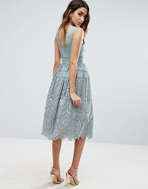 photo Broderie Prom Dress by ASOS, color Sage - Image 2