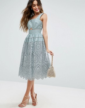 photo Broderie Prom Dress by ASOS, color Sage - Image 1