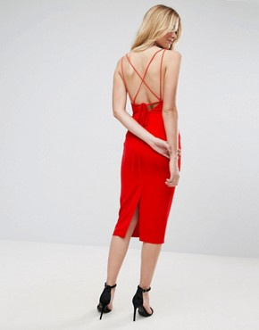 photo Strap Cupped Midi Pencil Dress by ASOS, color Bright Red - Image 2