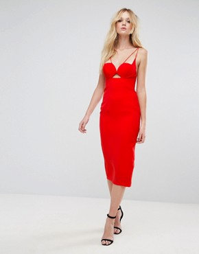 photo Strap Cupped Midi Pencil Dress by ASOS, color Bright Red - Image 4