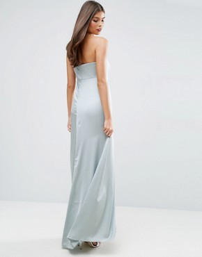 photo Bandeau Fold Front Maxi Dress by ASOS WEDDING, color Mint - Image 2