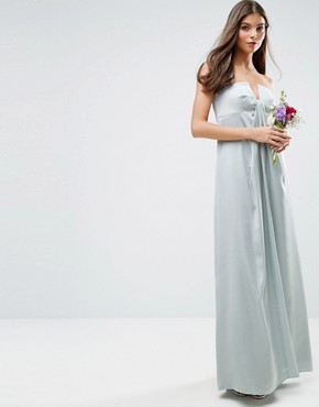 photo Bandeau Fold Front Maxi Dress by ASOS WEDDING, color Mint - Image 1