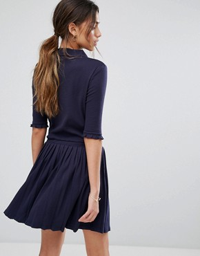 photo Pleated Shirt Dress with Zip by Unique 21, color Navy - Image 2