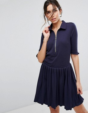 photo Pleated Shirt Dress with Zip by Unique 21, color Navy - Image 1