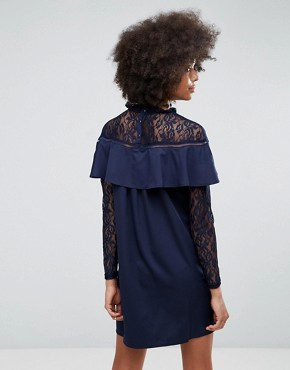 photo Frill and Lace Dress by Unique 21, color Navy - Image 2