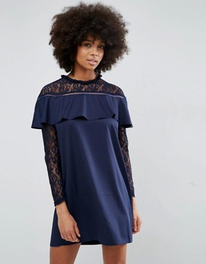 photo Frill and Lace Dress by Unique 21, color Navy - Image 1