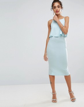 photo Crop Top Midi with Strap Back Dress by ASOS, color Ice Blue - Image 2