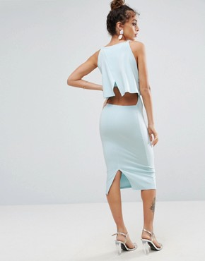 photo Crop Top Midi with Strap Back Dress by ASOS, color Ice Blue - Image 1