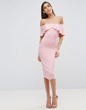 photo Cross Front Lip Bardot Midi Dress by ASOS, color Nude - Image 1