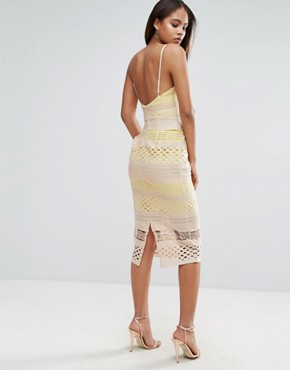 photo Hitchcock Graphic Lace Midi Pencil Dress by ASOS TALL, color Yellow Beige - Image 2