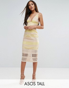 photo Hitchcock Graphic Lace Midi Pencil Dress by ASOS TALL, color Yellow Beige - Image 1