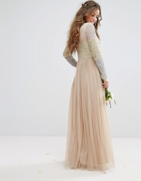 photo Long Sleeve V-Neck Tulle Maxi Dress with Multi Colour Sequin by Maya Petite, color Multi - Image 2