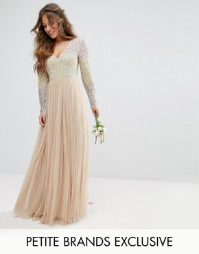 photo Long Sleeve V-Neck Tulle Maxi Dress with Multi Colour Sequin by Maya Petite, color Multi - Image 1
