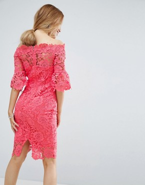 photo Bardot Cutwork Lace Pencil Dress by Paper Dolls Petite, color Coral - Image 2