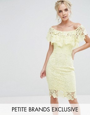 photo Bardot Lace Pencil Dress with Frill Detail by Paper Dolls Petite, color Lemon - Image 1