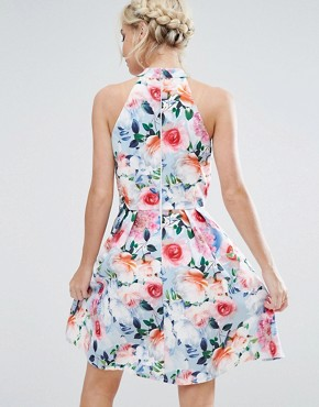 photo Floral Printed High Neck Prom Dress by Paper Dolls Petite, color Multi - Image 2
