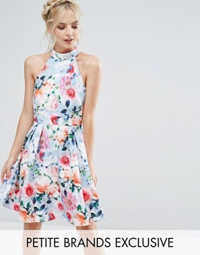 photo Floral Printed High Neck Prom Dress by Paper Dolls Petite, color Multi - Image 1