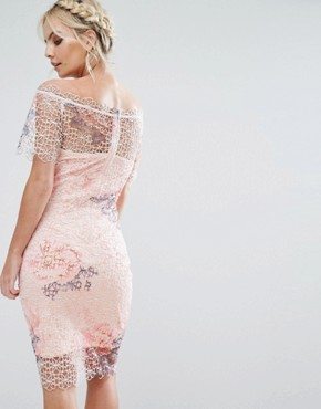 photo Bardot Cutwork Lace Pencil Dress with Floral Print by Paper Dolls Petite, color Multi - Image 2