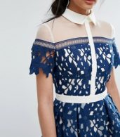 photo Lace Panelled Dress with Contrast Collar by Chi Chi London Premium, color Navy/White - Image 3