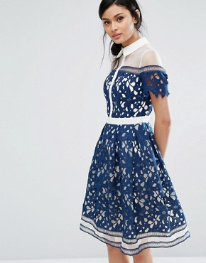 photo Lace Panelled Dress with Contrast Collar by Chi Chi London Premium, color Navy/White - Image 1