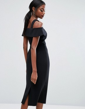 photo Midi Dress with Frill detail by AQ/AQ, color Black - Image 2