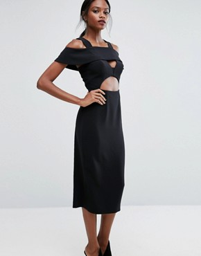 photo Midi Dress with Frill detail by AQ/AQ, color Black - Image 1