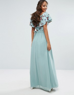 photo Floral Embroidered Off Shoulder Maxi Dress by Little Mistress Tall, color Sage - Image 2