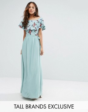 photo Floral Embroidered Off Shoulder Maxi Dress by Little Mistress Tall, color Sage - Image 1