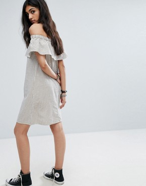 photo Off Shoulder Striped Mini Dress by Noisy May Tall, color Multi - Image 2