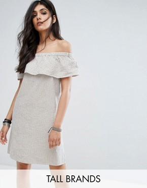photo Off Shoulder Striped Mini Dress by Noisy May Tall, color Multi - Image 1