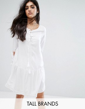 photo Lace Up Skater Dress with Fluted Sleeve Detail by Noisy May Tall, color White - Image 1
