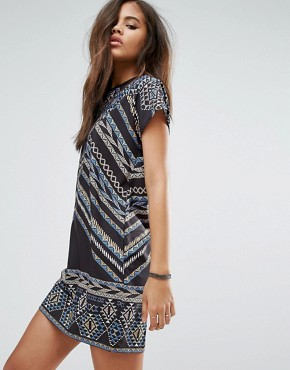 photo Aztec Printed Shift Dress with Tassel Back Detail by Noisy May Tall, color Multi - Image 2