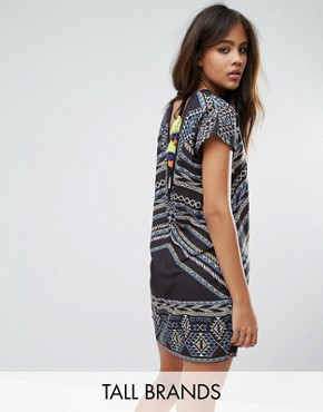 photo Aztec Printed Shift Dress with Tassel Back Detail by Noisy May Tall, color Multi - Image 1