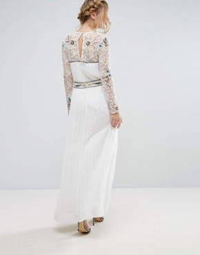 photo Wrap Front Maxi Dress with Embellished Sleeves by Frock and Frill, color White - Image 2