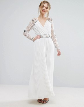 photo Wrap Front Maxi Dress with Embellished Sleeves by Frock and Frill, color White - Image 1