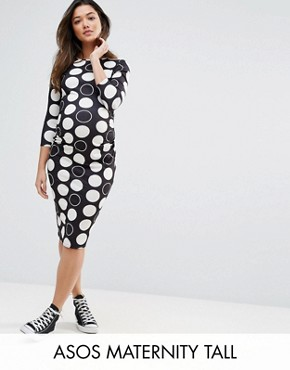 photo Spot Midi Bodycon Dress by ASOS Maternity TALL, color Black/White - Image 1