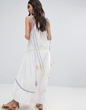 photo Embroidered Mirror Detail Maxi Dress with Tassel Ties by White Cove Petite, color Multi - Image 2