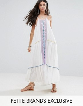 photo Embroidered Mirror Detail Maxi Dress with Tassel Ties by White Cove Petite, color Multi - Image 1